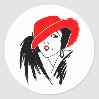 Art Deco Beautiful Woman Red Hat Classic Round Sticker