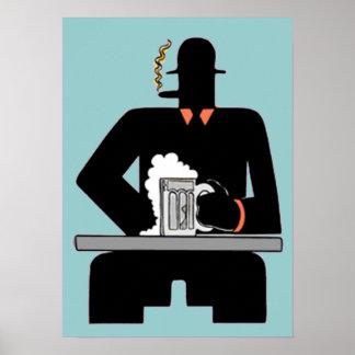 Art Deco Beer Drinker Poster