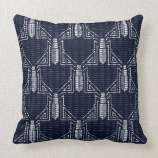Art Deco Beetle Dashed Pattern - Grey on Navy Blue Throw Pillow