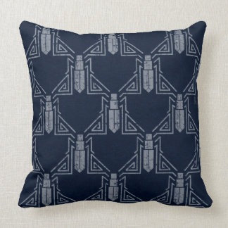 Art Deco Beetle Pattern - Gray on Navy Blue Throw Pillow