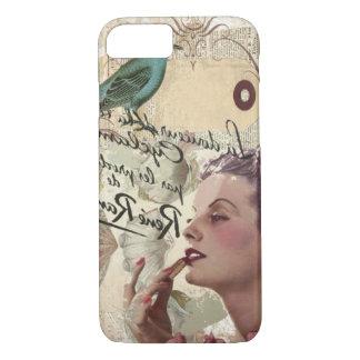 Art deco bird  french scripts great gatsby girl iPhone 8/7 case