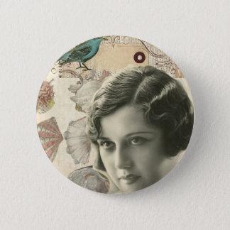 Art deco bird scripts seashells great gatsby girl 2 inch round button