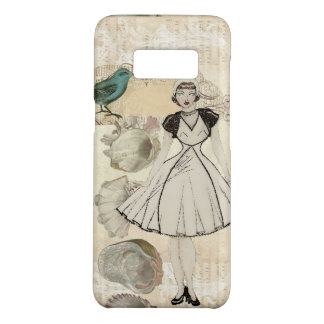 Art deco bird scripts seashells great gatsby girl Case-Mate samsung galaxy s8 case