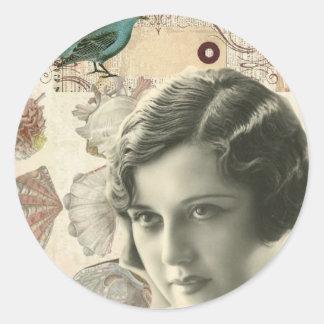 Art deco bird scripts seashells great gatsby girl classic round sticker