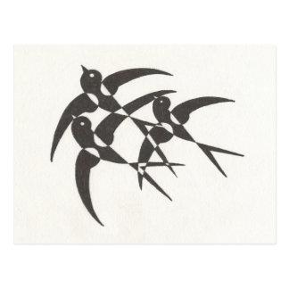 Art Deco Birds Postcard