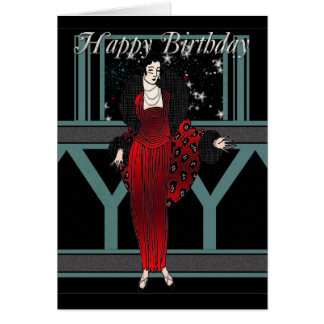 Art Deco Birthday Card With Female In Red And Blac