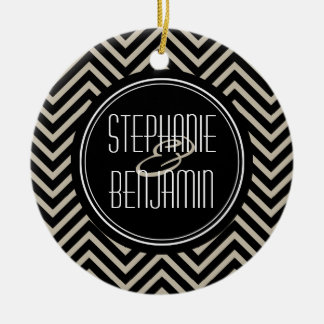 Art Deco Black and Beige Chevron Pattern Ceramic Ornament