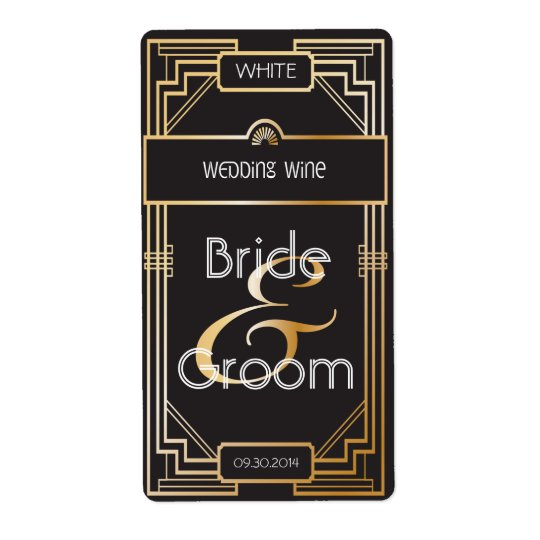 Art Deco Black and Gold Gatsby Wedding Wine Label Shipping Label