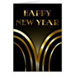 Art Deco Black and Gold New Years Card