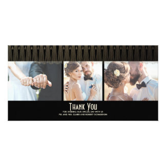 Art Deco Black and Gold Photo Wedding Thank You Custom Photo Card