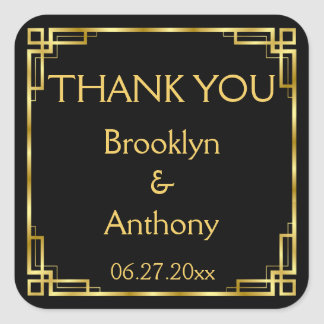 Art Deco Black And Gold Thank You Wedding Stickers