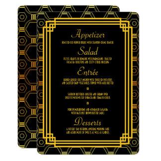 Art Deco Black and Gold Wedding Menu Card