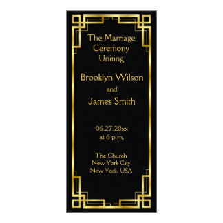 Art Deco Black And Gold Wedding Program Cards