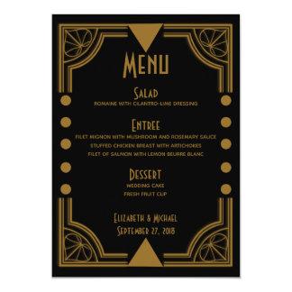 Art Deco Black and Gold Wedding Reception Menu Card