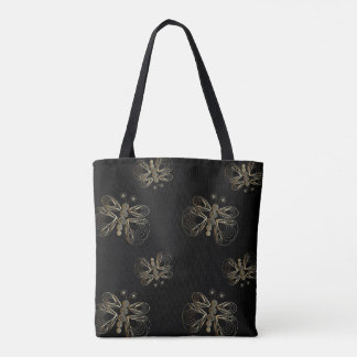 Art deco black and golden seamless pattern tote bag