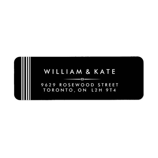 Art deco Black and white Return Address Labels