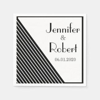 Art Deco Black and White Stripe Wedding Paper Napkin