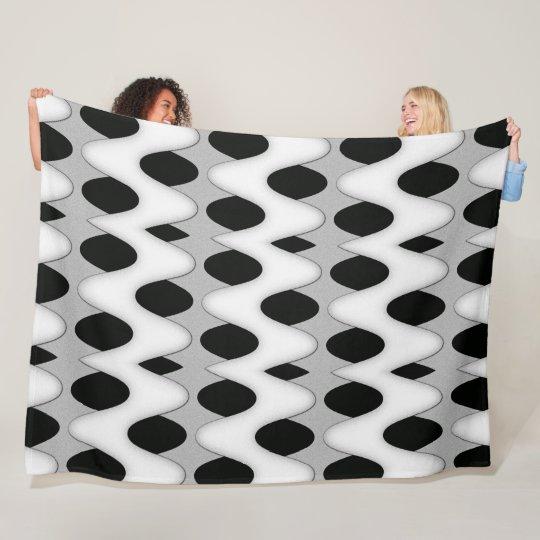 Art Deco Black and White Wave Super Soft Fleece Blanket