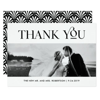 Art Deco Black and White | Wedding Photo Thank You Card