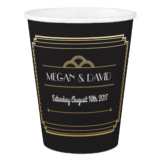 Art Deco Black & Gold Paper Cups Wedding