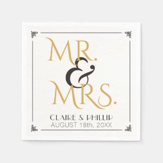 Art Deco Black Gold Wedding | Mr. and Mrs. Paper Napkin