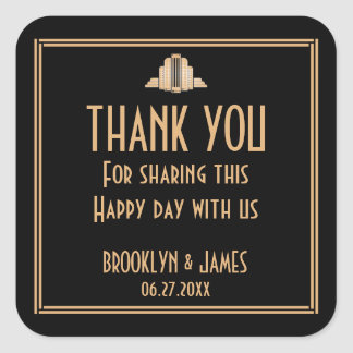 Art Deco Black Great Gatsby Wedding Stickers