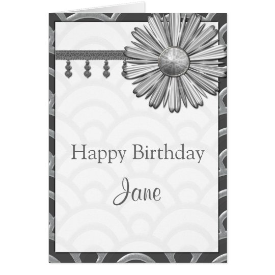 Art Deco Black, White, Silver Birthday Invites