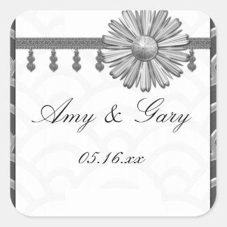 Art Deco Black, White, Silver Wedding Invites Square Sticker