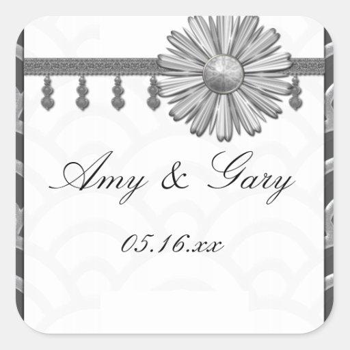 Art Deco Black, White, Silver Wedding Invites Sticker