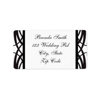 Art Deco Black White Wedding RSVP Address Labels
