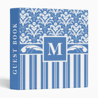 Art Deco Blue and White Damask Guest Book Binder