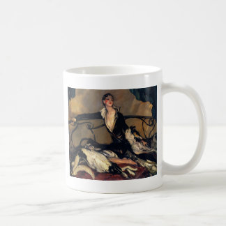 Art Deco Borzoi And Lady Lounging Coffee Mug