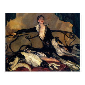 Art Deco Borzoi And Lady Lounging Postcard
