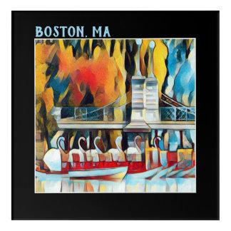 Art Deco Boston Swan Boats on black background