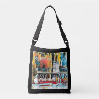 Art Deco Boston Swan Boats on black background Crossbody Bag
