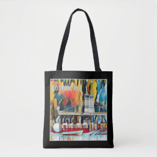 Art Deco Boston Swan Boats on black background Tote Bag
