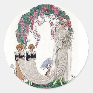 Art Deco Bride Round Sticker