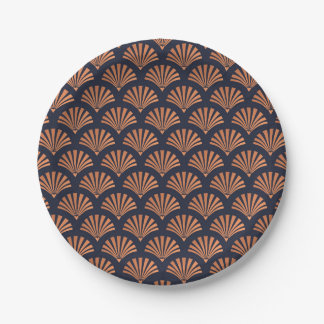 Art Deco Bronze Shell Pattern Paper Plates