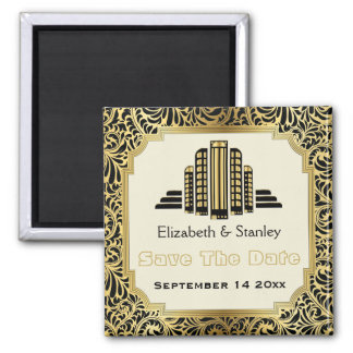 Art Deco building black gold wedding Save the Date Square Magnet