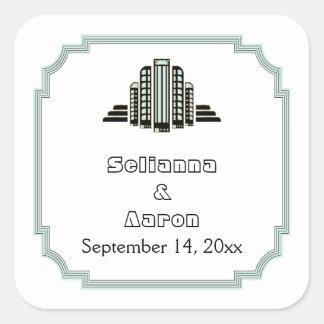 Art Deco building black mint wedding Save the Date Square Sticker