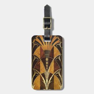 Art Deco Burl Wood Bag Tag