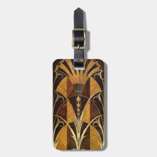 Art Deco Burl Wood Luggage Tag