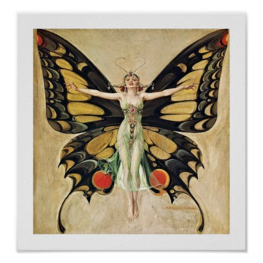Art Deco Butterfly Lady Posters
