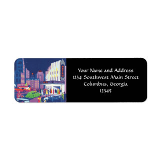 Art Deco Calcutta City Theatre Scene High Contrast Return Address Label
