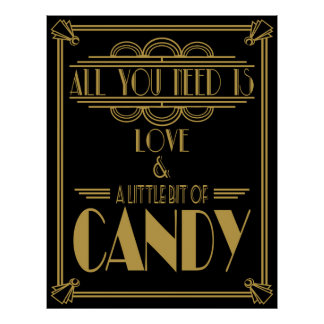 "Art Deco ""Candy Bar"" Gatsby style Black & Gold Poster"