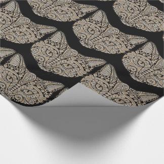Art deco cat jewel emblem giftwrap wrapping paper