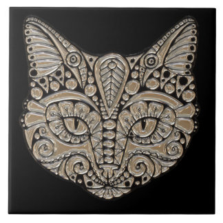 Art deco cat jewel emblem look tile