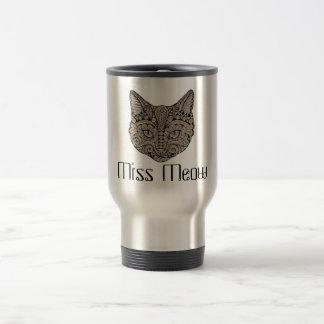 Art deco cat jewel emblem travel mug