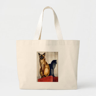 Art Deco Cats Large Tote Bag