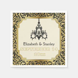 Art Deco chandelier black, gold damask wedding Disposable Napkin